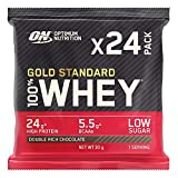 Optimum Nutrition Gold Standard Whey Protein Powder Sachets with Glutamine and Amino Acids. Protein Shake by ON - Double Rich Chocolate, Pack of 24, 24 x 30g