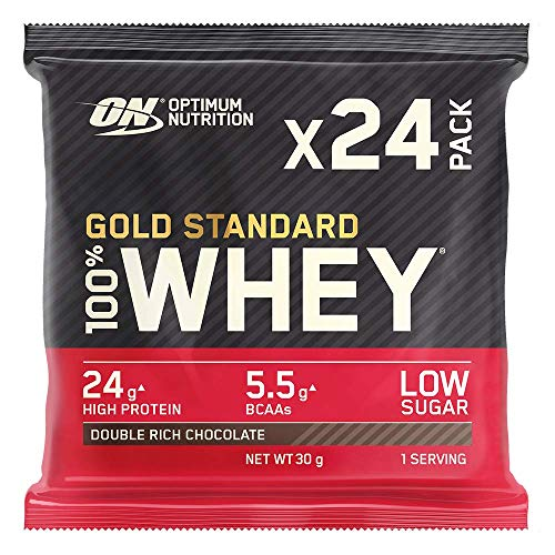 Optimum Nutrition Gold Standard Whey Protein Powder Muscle Building Supplements with Naturally-Occurring Glutamine and Amino Acids, Double Rich Chocolate, Pack of 24, 24 x 31 g, Packaging May Vary