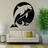 yaonuli Adhesivo de Pared Dolphin Jump Marine niños Dormitorio baño decoración del hogar Impermeable Vinilo Adhesivo 55X50cm
