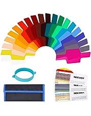 Neewer Kit de filtros universales para Flash de cámara (20 Unidades), Transparente para corrección de Color con Banda de fijación para Flash estroboscópico de Estudio fotográfico