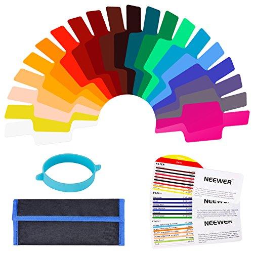Neewer universell Kamera Blitz Gels Transparente Farbkorrektur Waage Beleuchtung Filter Kit 15,5x 6,3 Zentimeter mit Ansatz Band für Foto Studio Strobe Blitz Licht (20 Stück)