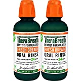 TheraBreath Fresh Breath Oral Rinse, Rainforest Mint, 16 Ounce Bottle (Pack of 2), Pack of 2 (16 Ounce)