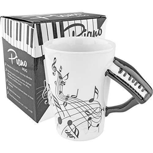 Fairly Odd Novelties Black & White Piano Coffee Mug Perfect Musician Pianist Keyboard Novelty Musical Gift, One Size, White