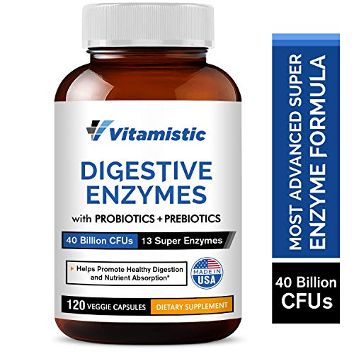 Vitamistic Digestive Enzymes Plus Probiotics & Prebiotics, 40 Billion CFUs, Supports Natural Digestion & Nutrient Absorption, Helps Gas Bloating Constipation, Non-GMO, Gluten-Free, Dairy-Free