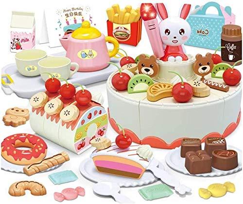 Abcoll Juego de Juguetes de Cocina Happy Little Chef Finge Jugar con Juguetes Juego de Juguetes para Tartas de cumpleaños Combo Girl Boy Play House Kitchen (Juego de 85 Piezas