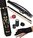 IgnatGames 2-Pieces Pool Cue Stick - 58' Canadian Maple Professional Billiard Pool Cues Sticks with Hard Case, 3 in 1 Pool Stick Tip Tool, 3 Finger Glove and Chalk Holder (19 oz. Yellow)