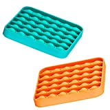 Silicone Push Pop Bubble Fidget Sensory Toy 2 Pack, Stress Reliever Squeeze Toy for Adults and Kids, Square Compression Toys for Anxiety, Orange and Green
