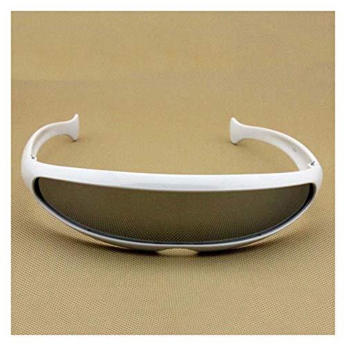 QQGGTongFeng Clásico Gafas de Sol futuristas Láser Eyeglasses UV400 Personalidad Disfracio de Lentes Gafas de Gafas para Exterior (Lenses Color : White Grey)