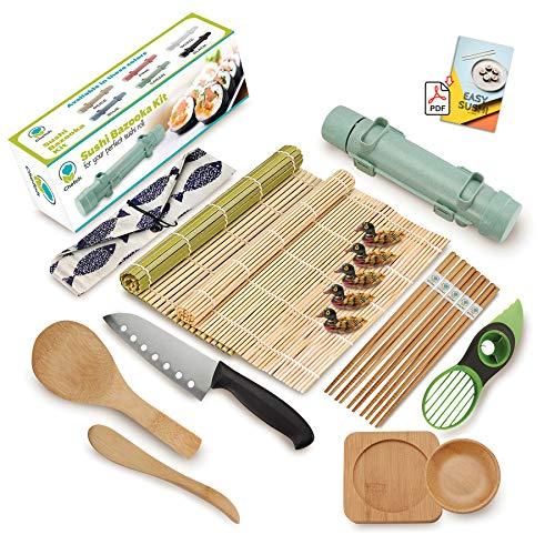 Chefoh AllInOne Sushi Making Kit   Green   Sushi Bazooka 2x Sushi Matt 5x Chopsticks  Holder Sushi Knife Rice Paddle Rice Spreader 2x Sauce Dish and Avocado Slicer