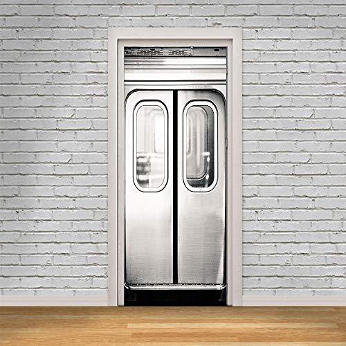 JIANXIQT deurstickers voor binnendeuren, citaat muursticker lift deur 3D badkamer deur sticker Vinyl Pvc waterdichte Scandinavische kunst stickers voor woonkamer slaapkamer schuifdeuren muurschildering 77x200cm