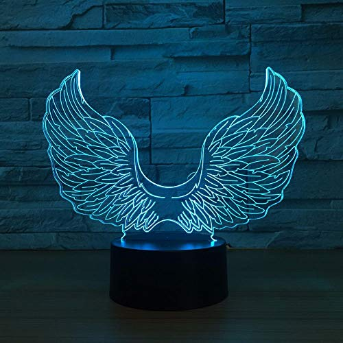 Angel Wings 3D Illusionslampe 3D Nachtlicht für Jungen Mädchen Tisch Schreibtischlampe 16 Farbwechsel Dekor Lampe Geschenke Geburtstagsfest Weihnachten für Teenager Freunde