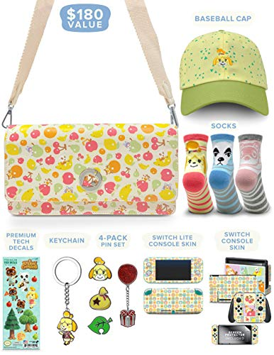 Controller Gear Official Nintendo Animal Crossing: New Horizons Merch Collectors Gift Set - Sling Bag, Switch + Switch Lite Skins, Hat, Keychain - Nintendo Switch