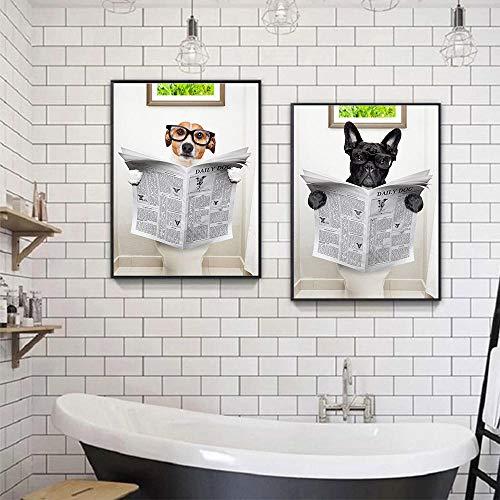 MXK Periódico de Lectura de Perros, Carteles e Impresiones de Lienzo de baño, Pintura de Arte de Pared de Perro Divertido, imágenes de Pared de Regalo nórdico, baño, decoración del hogar, 50x70 cm