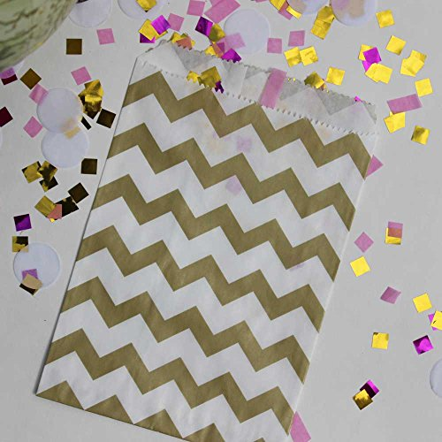 "Bakers Bling Gold Chevron Treat Bags with Stickers, 5.5"" x 7.5"", Set of 48 Bags and 48 Stickers"