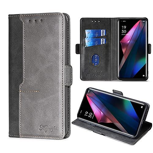 FiiMoo Handyhülle Kompatibel mit Oppo Find X3 / X3 Pro, [Weicher TPU] [Kartenfach] [Magnetverschluss] [Aufstellfunktion] PU Leder Tasche Flip Wallet Hülle Schutzhülle Hülle für Find X3/X3 Pro-Schwarz