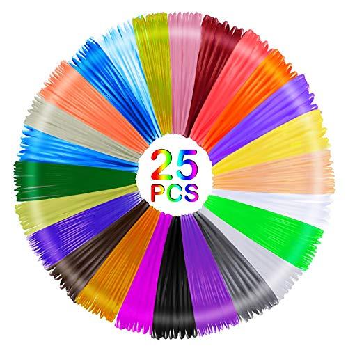 Fabu 25 Colori 3D Penna Filamento Ricarica per Stampanti 3D Materiali, 3D Pen Filament PLA 1.75mm per Stampa 3D Filamenti per la Stampa 3D Hobby Creativi 3D 5M Ogni Colore
