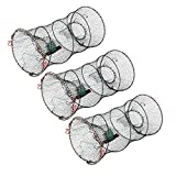 SF Fishing Casting Nets Crab Trap Crawfish Crayfish Lobster Shrimp Collapsible Cast Net Durable Black Mesh Fishing Nets Portable Folded Safe Fish Catching- 3 Packs Small