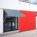 ML-Design Toldo Retráctil Manualmente 150 x 120 cm Azul-Blanco Lona Regulable en Altura sin Taladrar Sombrilla de Metal y Poliéster Resistente a los Rayos UV Marquesina Protectora Solar para Balcón