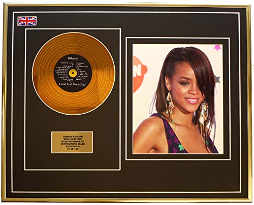 Everythingcollectible Rihanna/Mini Metall Gold DISC & Foto Display/Limitierte Edition/COA/Good Girl Gone Bad