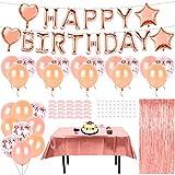 Palloncini Compleanno Oro Rosa, Banner di Buon Compleanno, Palloncini in Lattice & Allumin...