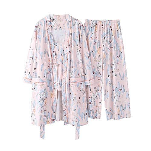 DFDLNL Inicio Ropa Pijama 3 Piezas Pijamas de algodón para Mujer Traje de Noche Conjuntos de Ropa de Dormir Pijamas Mujer Primavera Otoño M MBF-Y8828