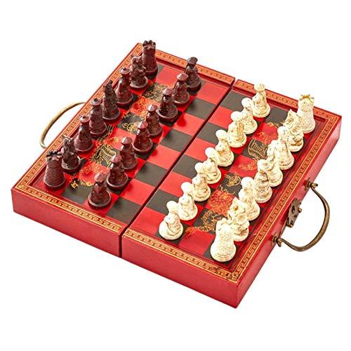 lahomia Juego de ajedrez Internacional con Tablero de ajedrez Plegable de Madera y Piezas estándar Hechas a Mano clásicas de Ajedrez de Resina para niños y