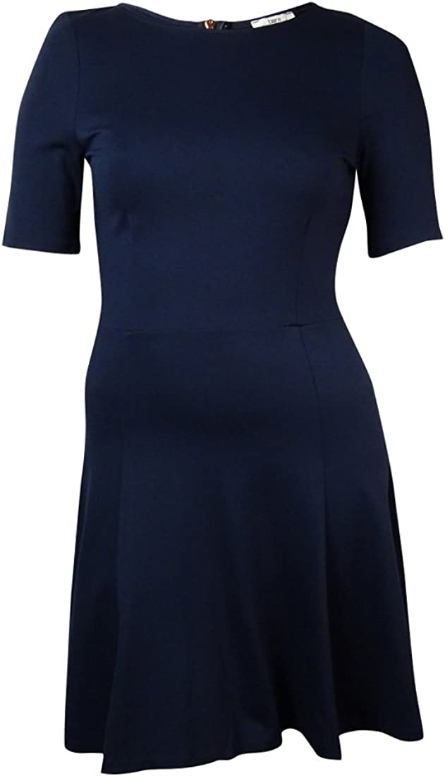 Bar III Women's Short Sleeve Flared Dress (XL, Black Iris)