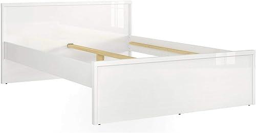 intelligentBett POURI Lit Double 140 cm Blanc Brillant