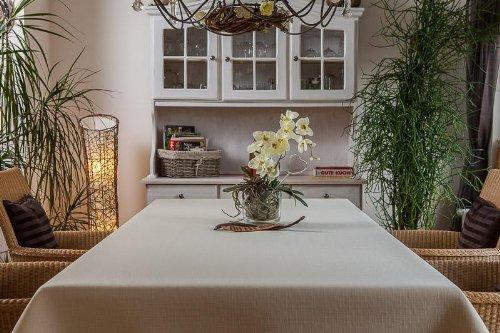 ODERTEX Exclusive Tischdecke eckig aus Deutscher Produktion mit LOTUSEFFEKT, pflegeleicht Rustika Farbe: Sand-beige Maß: 100x100 cm, GRATIS Lieferung innerhalb Deutschlands