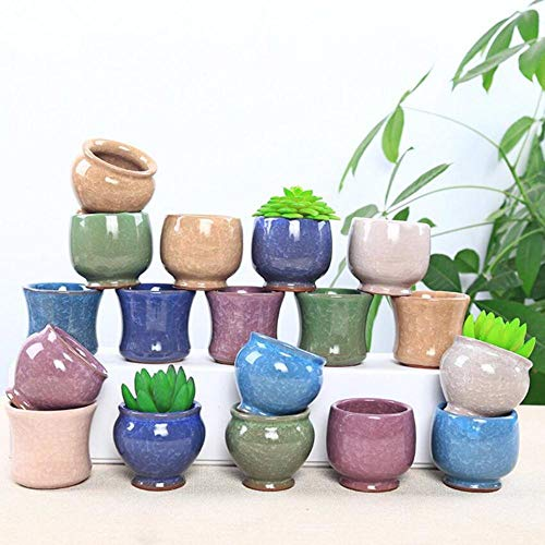 WFM kleurrijke ijs glazuur mini bloempotten keramische potten groene tafeldecoratie