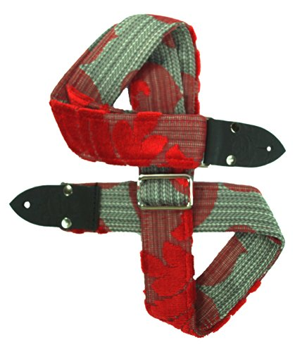 Dog Days Vintage Guitar Straps rdgr1 Red and Grey Ukulele/Mandolin Strap, Red/Grey/Silver/Deep Red