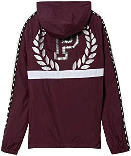 Victoria's Secret Pink New! SNAP Funnel Neck Sport Jacket (Limited Edition), Luscious Plum with Silver Bling, XS/S