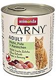 animonda Carny Adult Katzenfutter, Nassfutter für ausgewachsene Katzen, Huhn, Pute + Kaninchen, 6 x 800 g