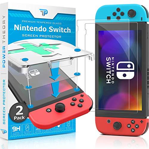 Power Theory Panzerglas für Nintendo Switch [2-Stück] - Schutzfolie mit Schablone, Panzerglasfolie, Panzerfolie, Glas Folie, Displayschutzfolie, Schutzglas