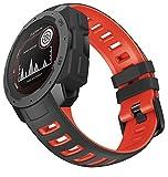 WIIKAI Compatible con Garmin Instinct,Instinct Esport Correas para Relojes, Correa de Pulsera de Reemplazo.(Rojo Fuego Negro)