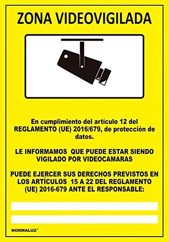 Normaluz RD30042 RD30042-Señal Zona Videovigilada PVC Glasspack 0,7 mm 21x30 cm, Amarillo