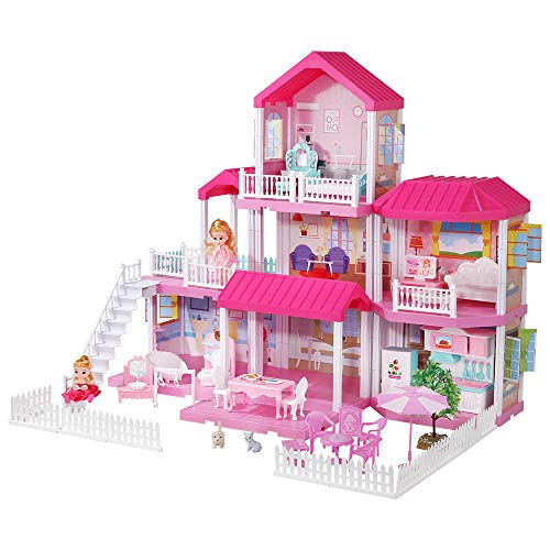 Temi Dreamy Dollhouse Building Kit with Furniture, Doll Toy...