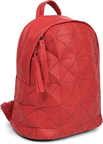 styleBREAKER Damen Rucksack Handtasche mit geometrischen Cutouts, Reißverschluss, Tasche 02012293, Farbe:Rot