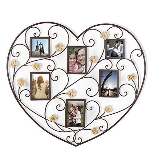 Adeco PF0598 Decorative Black Iron Heart-Shape Picture Frame Collage with Scroll and Burlap Flower Design, 6 Openings, 4x6, 4x4