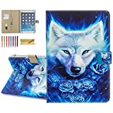 8.0-8.4 Inch Display Universal Case - Dteck Slim Leather Wallet Flip Cover for HD 8/ Samsung Galaxy Tab/Lenovo Tab/Dragon Touch/LG G Pad/Huawei/Onn/Android Tablet 8 8.3 8.4 Inch (Wolf King)