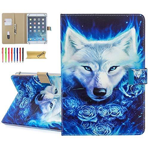 Dteck Schutzhülle für HD 8 / Samsung Galaxy Tab / Lenovo Tab / Dragon Touch / LG G Pad / Huawei / Onn / Android Tablet 8 8.3 8.4 Zoll (Wolf King)