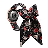 Wearlizer Compatible with Samsung Watch 42mm Bands/Galaxy Active 2 40mm Scarf Bands Rose Gold Women Girl Fashion Cute Silk Replacement Wrist Strap for Gear S2 Classic/Gear Sport 20mm-Red Floral