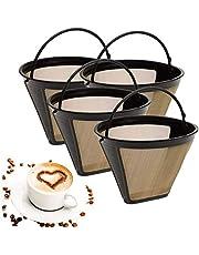 ALLOMN Filtro de Café Reutilizable, 4 PCS Filtro de Café en Forma de Cono Máquina de Café Reemplazo del Filtro de la Máquina con Mango