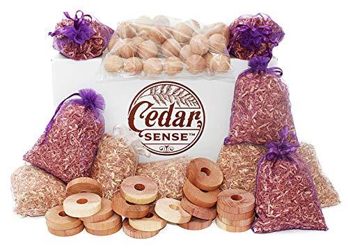 CEDAR SENSE - Cedar Sachet 70 Pack - 40 Cedar Balls - 20 Cedar Rings - 5 Cedar Sachets - 5 Lavender Infused Cedar Sachets - Cedar Blocks for Clothes Storage - Cedar Blocks for Storage - Cedar Chips