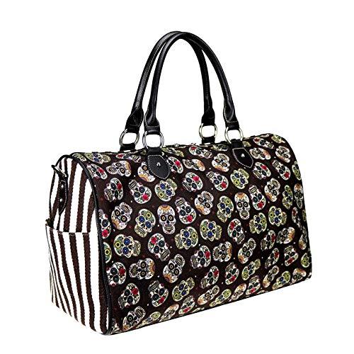 Montana West Sugar Skull Canvas Weekender Bag Travel Duffle Bags Western Sugar Skull Sport Gym Bag For Men Women Black MW+925-5110 BK