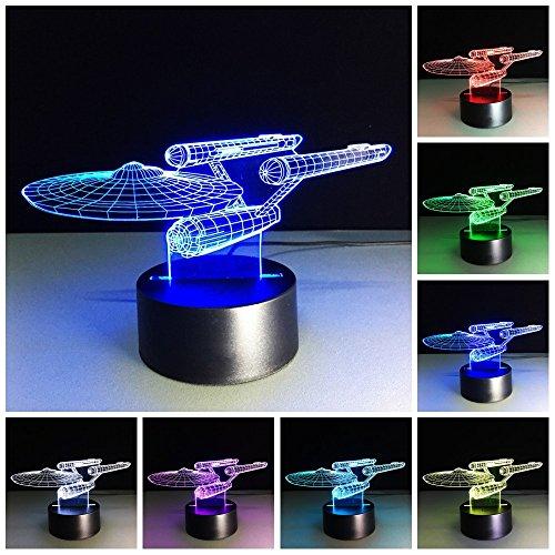 Star Trek 3D Lampe,Kreative 3D LED Illusion Nachlichter USB 7 Farbwechsel LED Nachlampe Schreibtischlampe Kreativ Leuchten Tischleuchte Dekoratives Licht für Kinder Mädchen Geschenk für Tochter