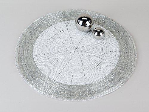 Formano Untersetzer aus Perlen weiß siber mit Kratzschutz auf der Unterseite (35)
