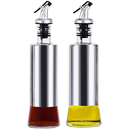 MingHing Olive Oil Dispenser Bottle, Glass Oil and Vinegar Dispenser Pouring Spouts Soy Sauce Container for Kitchen, Cruet Set-2Pcs
