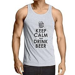 Camisetas de Tirantes para Hombre Mantenga la Calma y beba Cerveza
