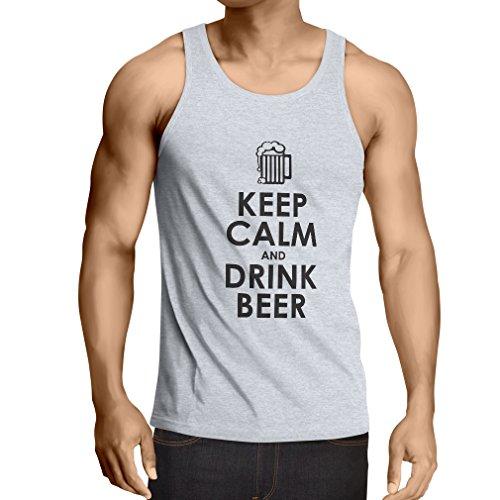 Camisetas de Tirantes para Hombre Mantenga la Calma y beba Cerveza - Conseguir Borracho Citas humorísticas, Regalos Divertidos de Alcohol (Large Blanco Negro)
